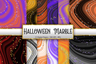 Print on Demand: Halloween Glitter Marble Digital Papers Graphic Backgrounds By PinkPearly