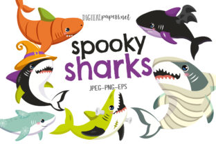 Print on Demand: Halloween Spooky Sharks Graphic Illustrations By DigitalPapers 1