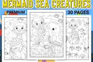 Print on Demand: Mermaid Sea Creatures Coloring Pages Graphic Coloring Pages & Books Kids By Simran Store