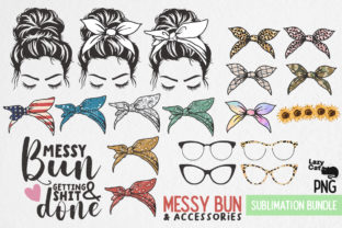 Messy Bun  Accessories Bundle Graphic Print Templates By Lazy Cat