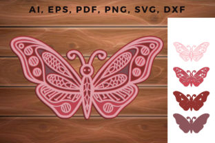 Print on Demand: Multi Layer Butterfly Laser Cut Ornament Graphic 3D SVG By NGISED