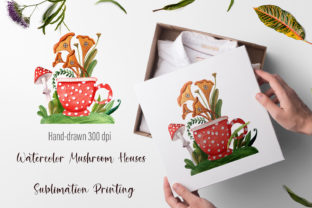Print on Demand: Mushroom Houses Sublimation Graphic Graphic Templates By ElenaZlataArt
