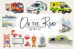 UK Road Clip Arts, Stickers and Poster Graphic Illustrations By tatibordiu