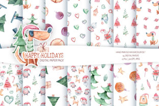 Print on Demand: Watercolor Christmas Seamless Patterns Graphic Patterns By Tiana Geo