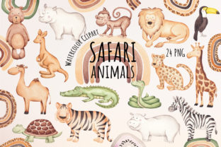 """Print on Demand: Watercolor Clipart """"Safari Animals"""" Graphic Illustrations By SirenaArt"""