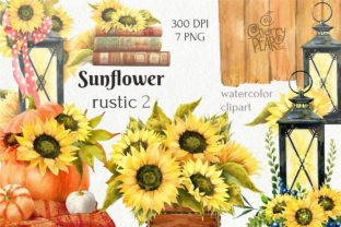 Watercolor Fall Sunflower Rustic Art Graphic Illustrations By CherrypearStudio