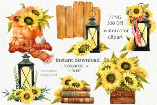 Print on Demand: Watercolor Fall Sunflower Rustic Art Graphic Illustrations By CherrypearStudio 2