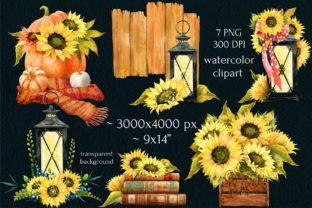 Print on Demand: Watercolor Fall Sunflower Rustic Art Graphic Illustrations By CherrypearStudio 3