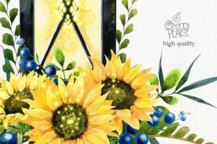 Print on Demand: Watercolor Fall Sunflower Rustic Art Graphic Illustrations By CherrypearStudio 4