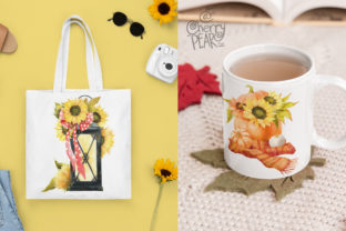 Print on Demand: Watercolor Fall Sunflower Rustic Art Graphic Illustrations By CherrypearStudio 6