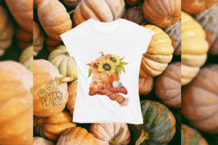 Print on Demand: Watercolor Fall Sunflower Rustic Art Graphic Illustrations By CherrypearStudio 7