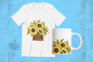 Print on Demand: Watercolor Fall Sunflower Rustic Art Graphic Illustrations By CherrypearStudio 8