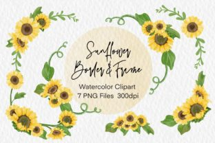 Print on Demand: Watercolor Sunflower Border Frame Png Graphic Illustrations By AchitaStudio