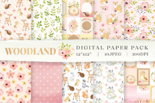 Woodland Animals Digital Paper Graphic Backgrounds By SipkaDesigns