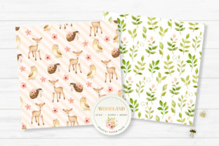 Woodland Animals Digital Paper Graphic Backgrounds By SipkaDesigns 2