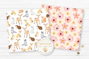 Woodland Animals Digital Paper Graphic Backgrounds By SipkaDesigns 5