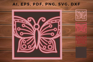 Print on Demand: 3d Multi Layer Butterfly Laser Cut Fame Graphic 3D SVG By NGISED