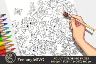 Cats and Dogs Coloring Page for Kids Graphic Coloring Pages & Books Adults By ZentangleSVG