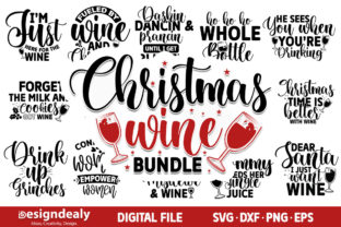 Print on Demand: Christmas Wine SVG Bundle | 19 Designs Graphic Crafts By Designdealy