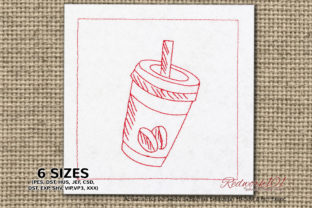 Coffee Cup with Straw Tea & Coffee Embroidery Design By Redwork101