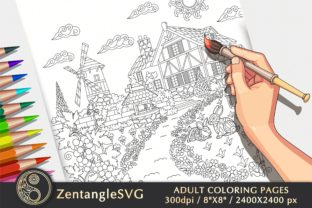 Country House Coloring Page for Adults Graphic Coloring Pages & Books Adults By ZentangleSVG