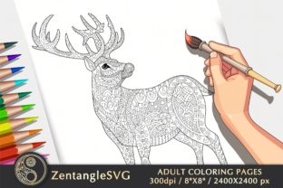Deer Coloring Page for Adults & Kids Graphic Coloring Pages & Books Adults By ZentangleSVG