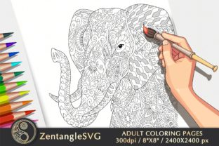Elephant Coloring Page for Adults & Kids Graphic Coloring Pages & Books Adults By ZentangleSVG
