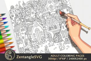 Fairy Houses Coloring Page for Adults Graphic Coloring Pages & Books Adults By ZentangleSVG