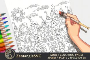 Fairy Town Coloring Page for Adults Graphic Coloring Pages & Books Adults By ZentangleSVG