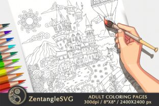 Fairy Tale Fantasy Castle Coloring Page Graphic Coloring Pages & Books Adults By ZentangleSVG
