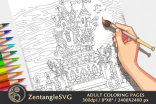 Halloween Castle Coloring Page Graphic Coloring Pages & Books Adults By ZentangleSVG