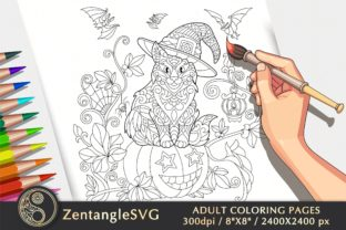 Halloween Cat Coloring Page for Adults Graphic Coloring Pages & Books Adults By ZentangleSVG