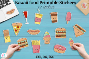 Kawaii Food Printable Stickers. Graphic Graphic Templates By OK-Design