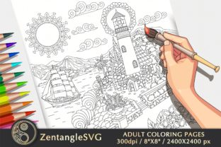 Light House Coloring Page for Adults Graphic Coloring Pages & Books Adults By ZentangleSVG