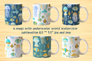 Mugs with Underwater World Sublimation Graphic Objects By Elena Sedova