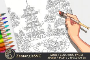 Pagoda Coloring Page for Adults & Kids Graphic Coloring Pages & Books Adults By ZentangleSVG
