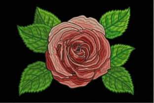 Red Rose Single Flowers & Plants Embroidery Design By BroDesing