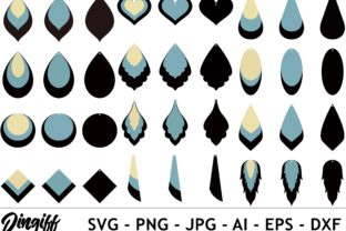 Print on Demand: Stacked Earring Template SVG Graphic 3D SVG By morimorejingiff