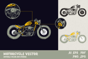 Print on Demand: Vintage Motorcycle Illustration Graphic Illustrations By Balibilly Design
