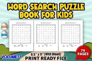 Word Search Puzzle Book for Kids   V-1 Graphic KDP Interiors By Toster