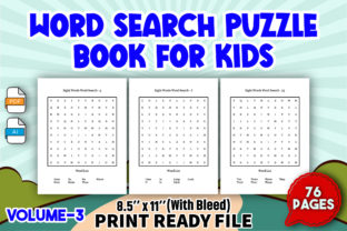 Word Search Puzzle Book for Kids   V3 Graphic KDP Interiors By Toster