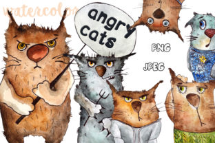 Emotional Cats Drawings Watercolors Graphic Web Templates By WatercolorСreatures
