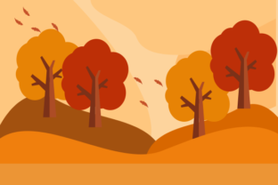 Flat Design Autumn Trees Background Graphic Illustrations By 2qnah