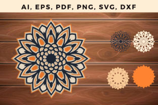 Print on Demand: Multi Layer Sunflower Svg Ornament Graphic 3D SVG By NGISED