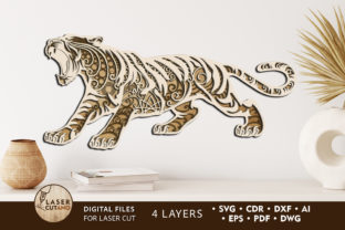 Print on Demand: Multilayer Laser Cut Files Tiger Graphic 3D SVG By LaserCutano