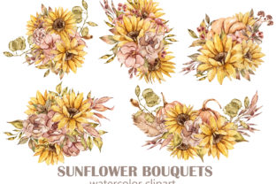 Print on Demand: Sunflower Bouquets Clipart - 5 Png Files Graphic Illustrations By Tiana Geo