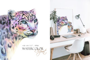 Watercolor Snow Leopard Clipart, Print Graphic Illustrations By InnaKoteShop