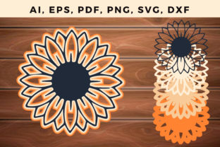 Print on Demand: Multilayer Sunflower Svg Ornament Vector Graphic 3D SVG By NGISED