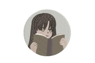 Anime Girl Reading a Book Games & Leisure Embroidery Design By Embroidery Designs