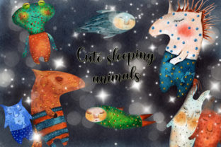Cute Sleeping Animals Graphic Web Templates By WatercolorСreatures
